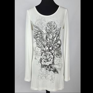 Rose, Wing, Fleur de Lis Knit Top w Bling & Chains